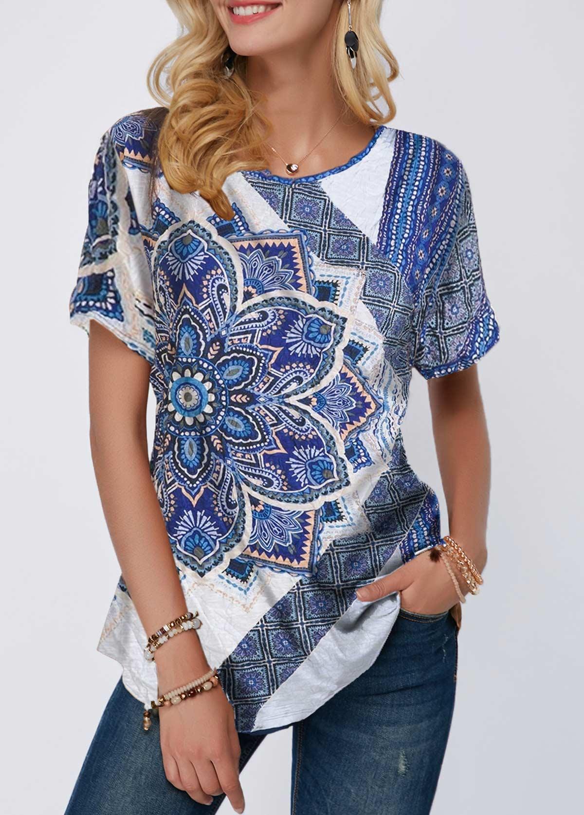 Curved Hem Mandala Print Short Sleeve T Shirt