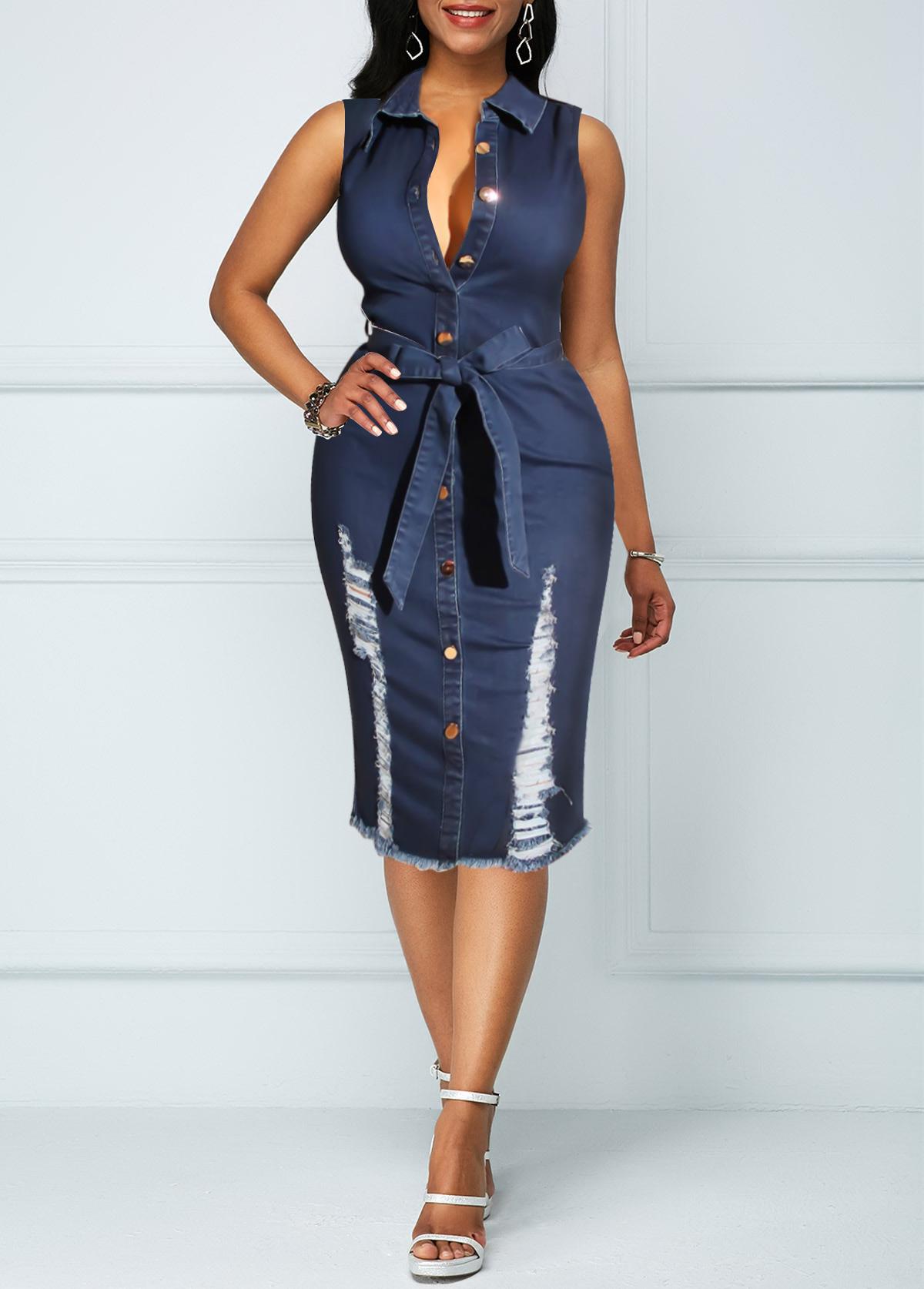 Button Up Sleeveless Belted Denim Dress
