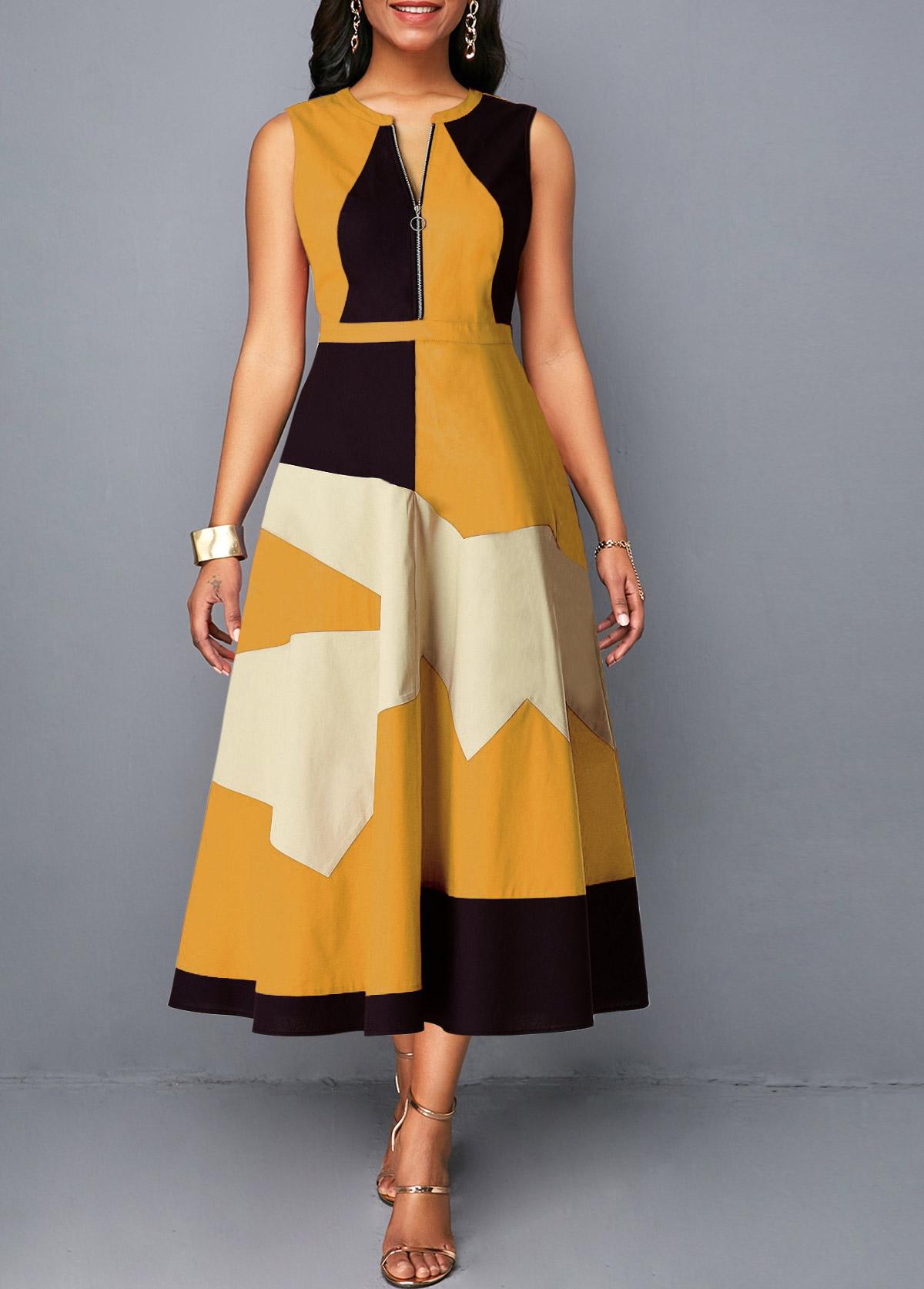 Half Zipper Sleeveless Geometric Print Dress