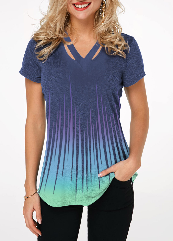 Dazzle Color Cutout Neckline Short Sleeve T Shirt