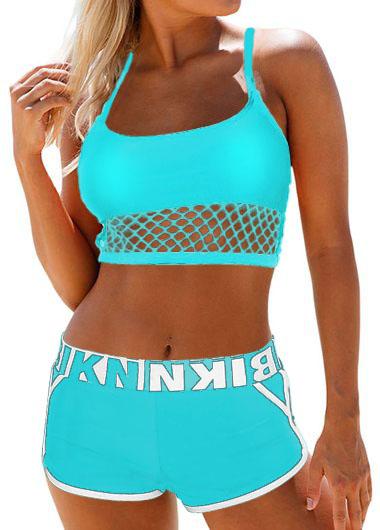 Spaghetti Strap Letter Print Sports Bikini Set