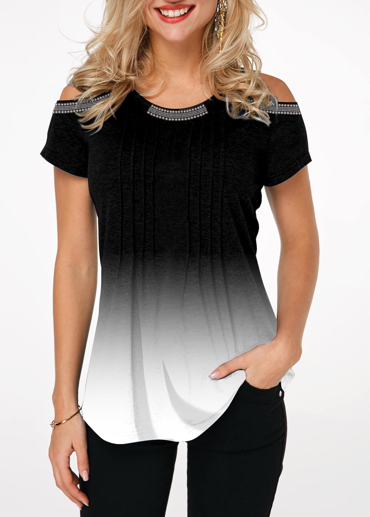 Crinkle Chest Cold Shoulder Short Sleeve T Shirt
