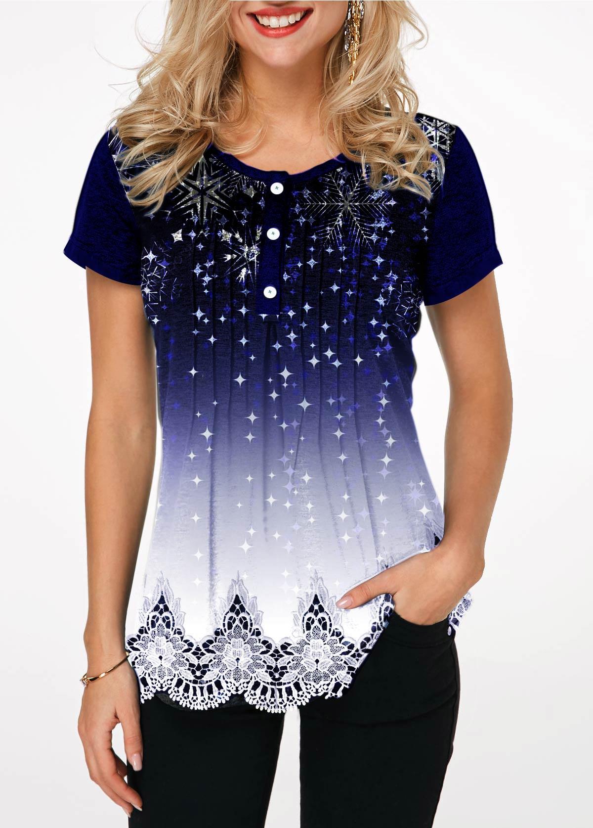 Starry Night Print Button Detail T Shirt