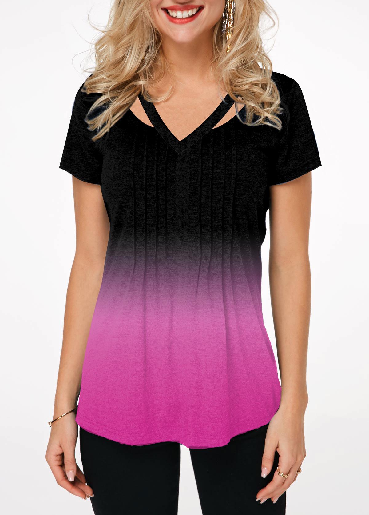 Gradient Short Sleeve Embellished Neck T Shirt