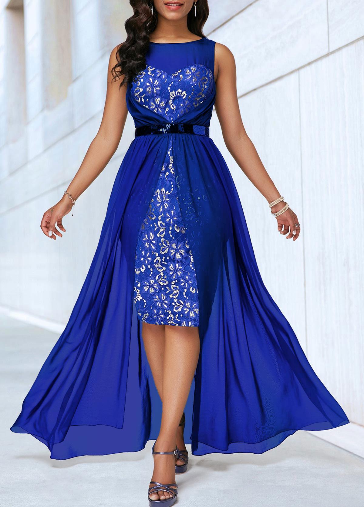 High Waist Sleeveless Dip Hem Lace Patchwork Dress