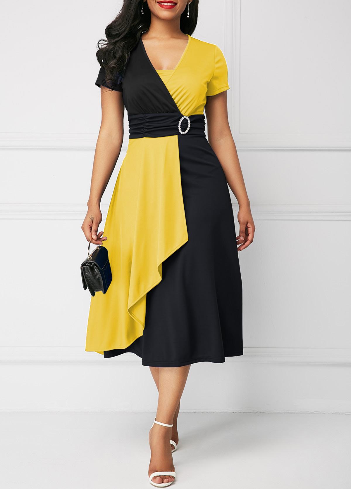 Color Block Short Sleeve Mock Wrap Dress
