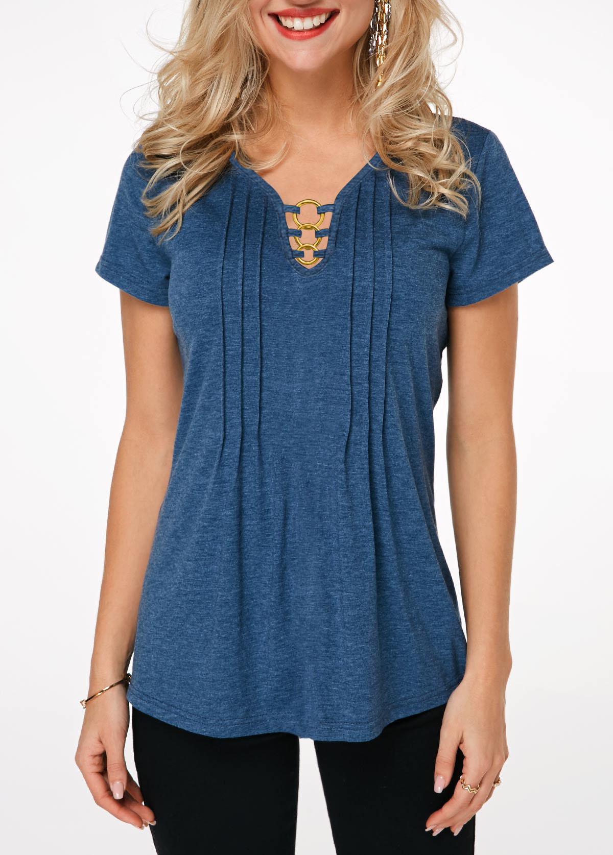 Ring Detail Short Sleeve Crinkle Chest T Shirt