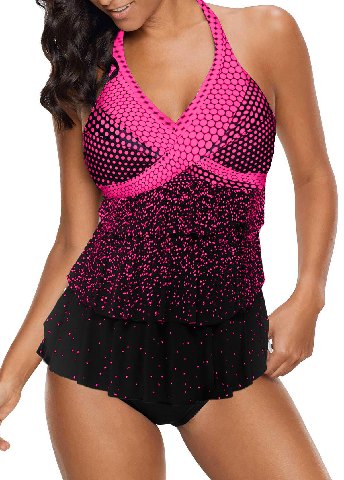 Halter Neck Dot Print Layered Tankini Set