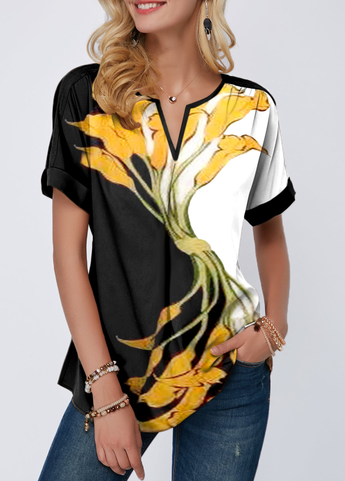 Notch Neck Flower Print Short Sleeve Blouse