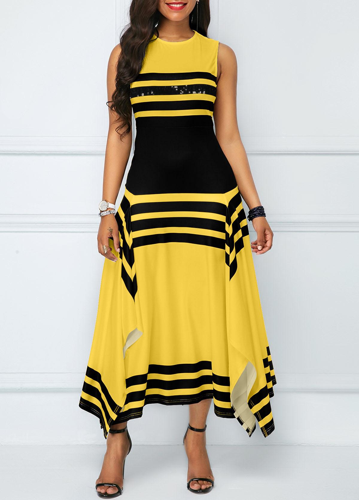 Asymmetric Hem Round Neck Striped Maxi Dress