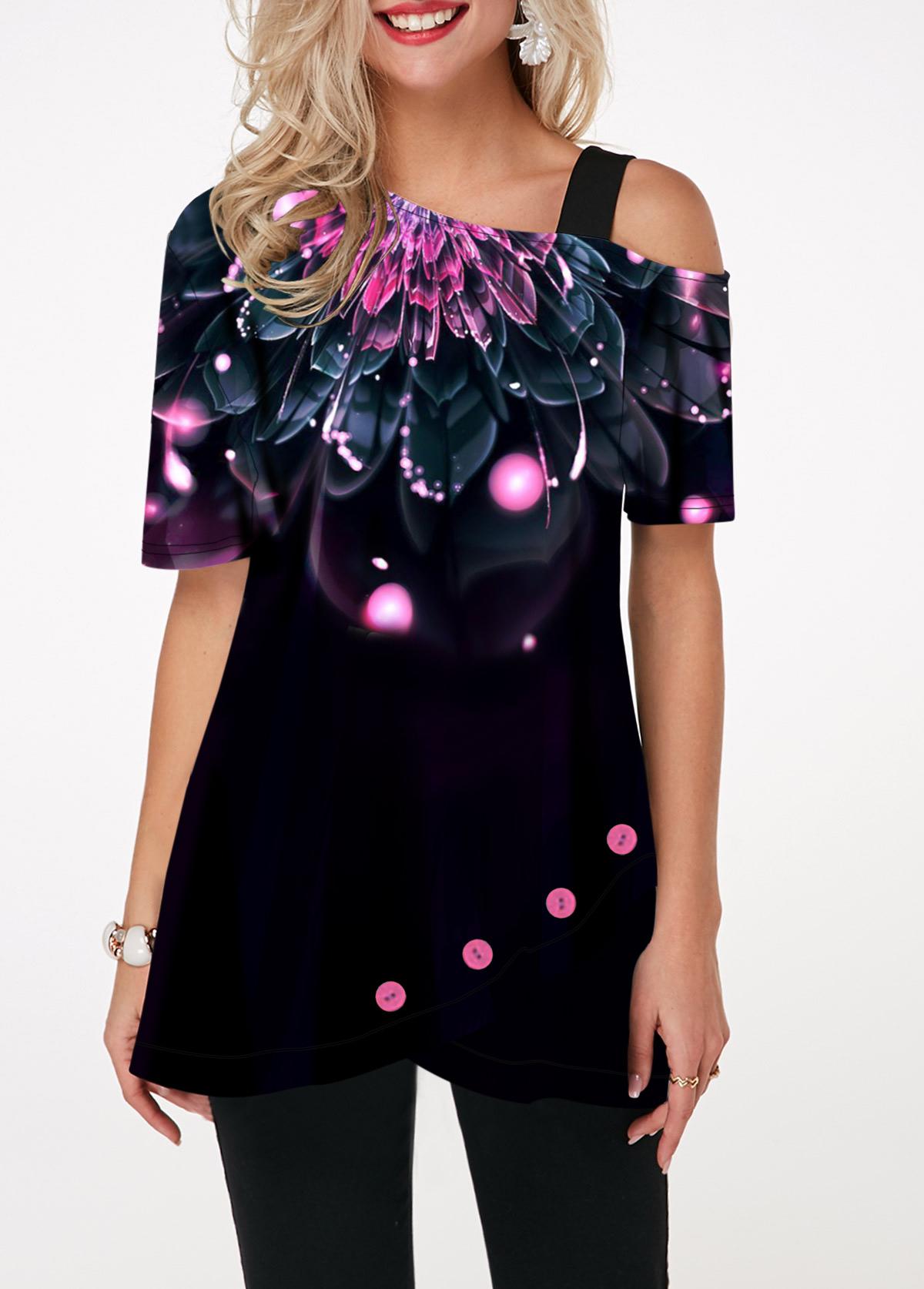 Dazzle Color Floral Print Short Sleeve T Shirt