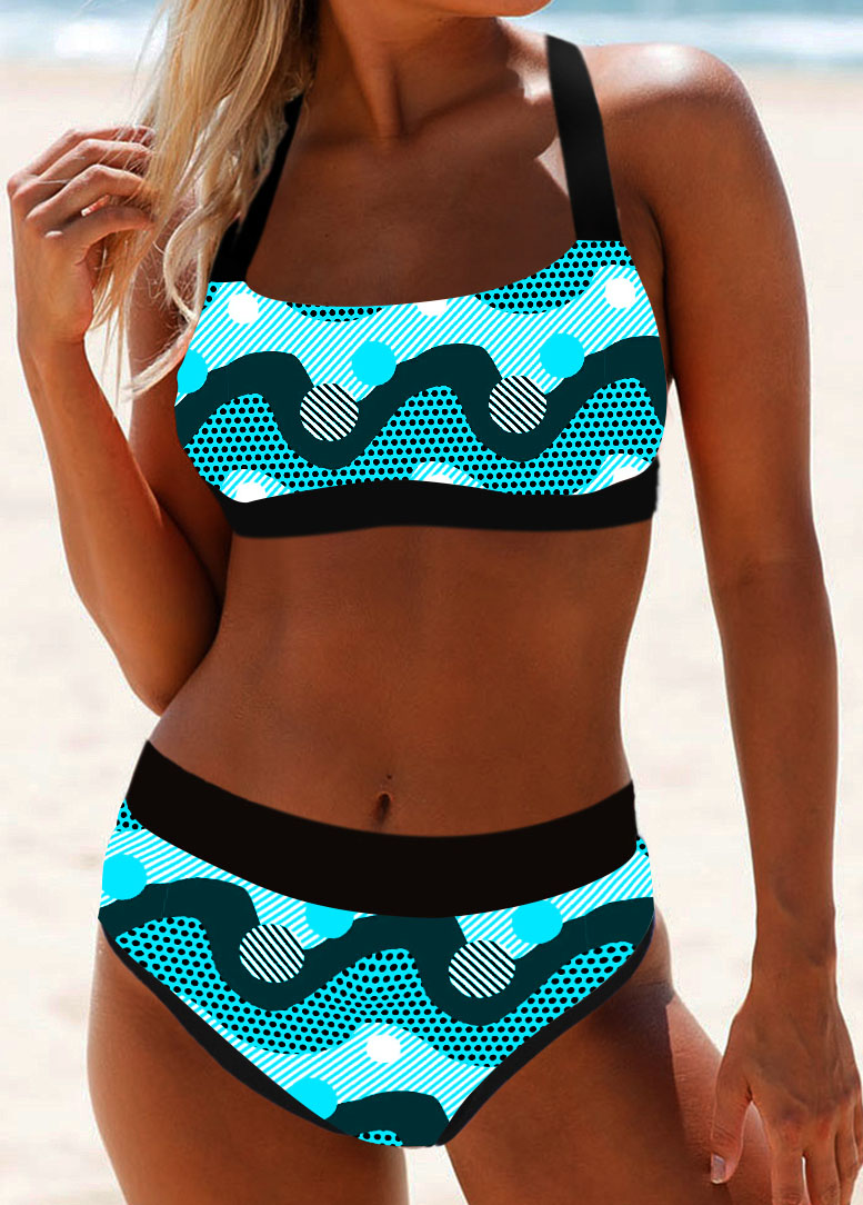 Dot Print Tie Back Bikini Set