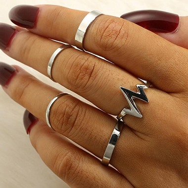 Silver Metal Geometric Design Ring Set