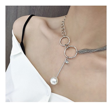 Silver Metal Pearl Embellished Necklace for Women