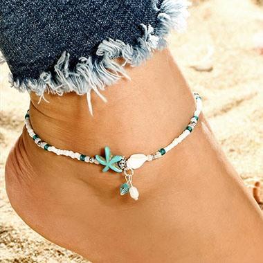 Star Design Bead Embellished White Anklet