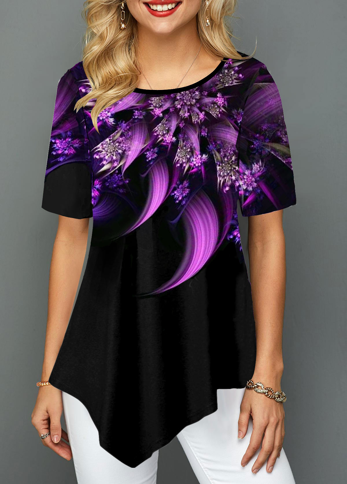 Flower Print Asymmetric Hem Short Sleeve T Shirt