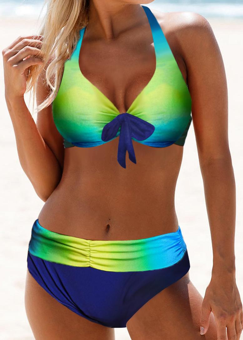 Bowknot Detail Dazzle Color Halter Neck Bikini Set