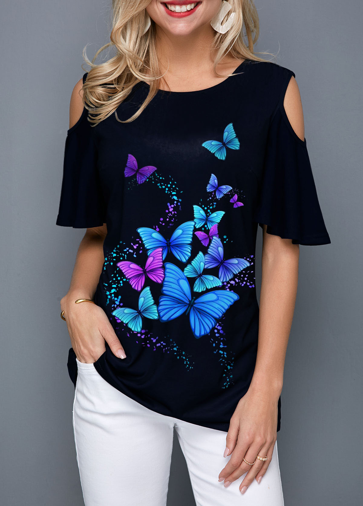 Butterfly Print Cold Shoulder Round Neck Blouse