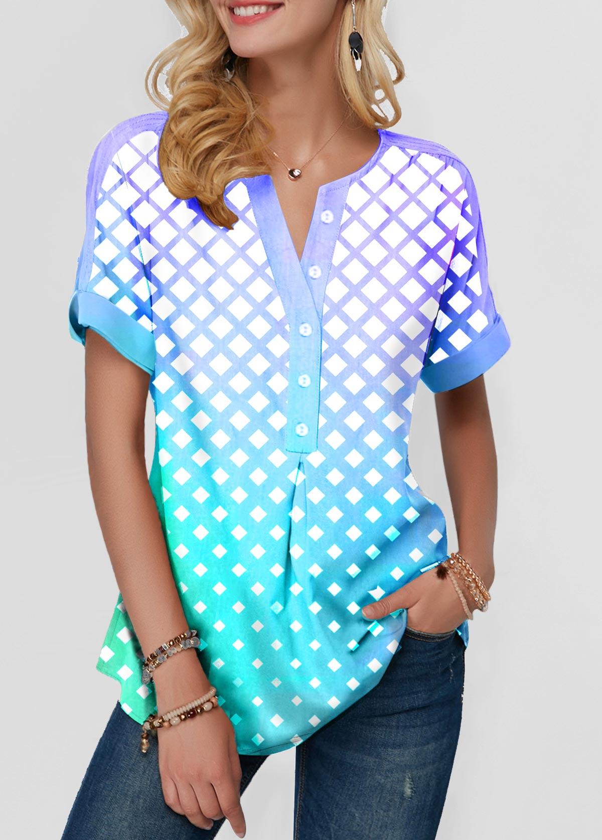 Dazzle Color Button Front Plaid Print Blouse