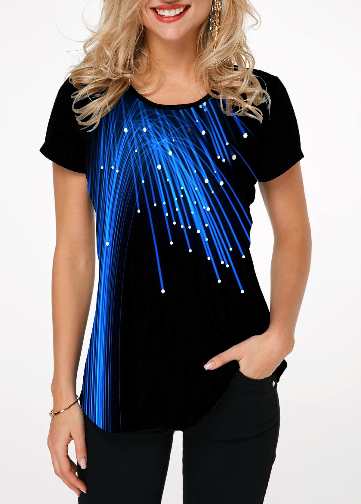 Short Sleeve Printed Round Neck T Shirt