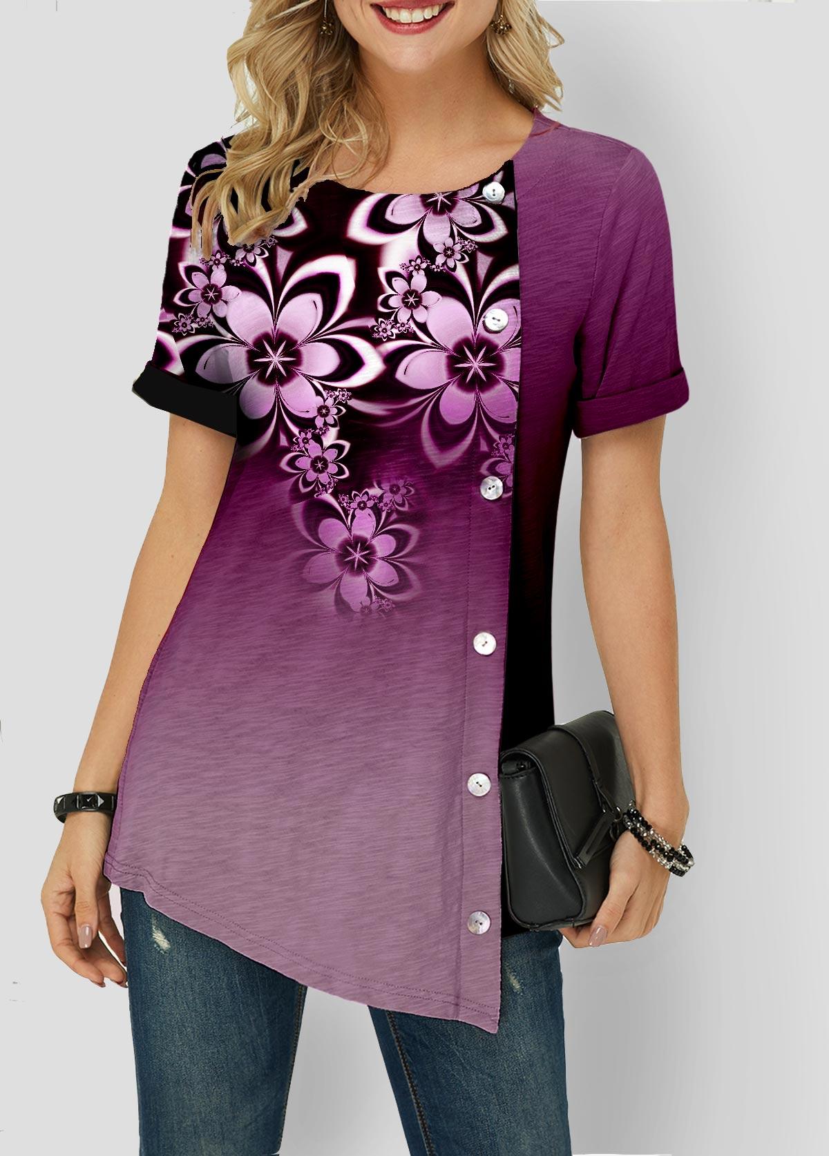 Asymmetric Hem Button Detail Gradient T Shirt