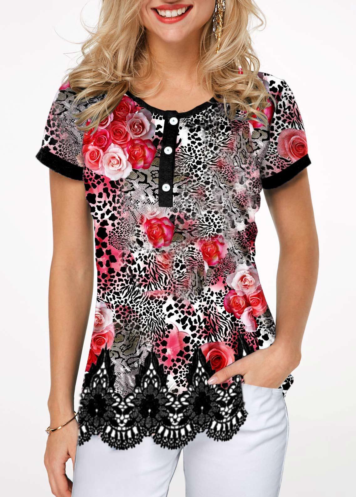 Scalloped Hem Short Sleeve Leopard Print T Shirt