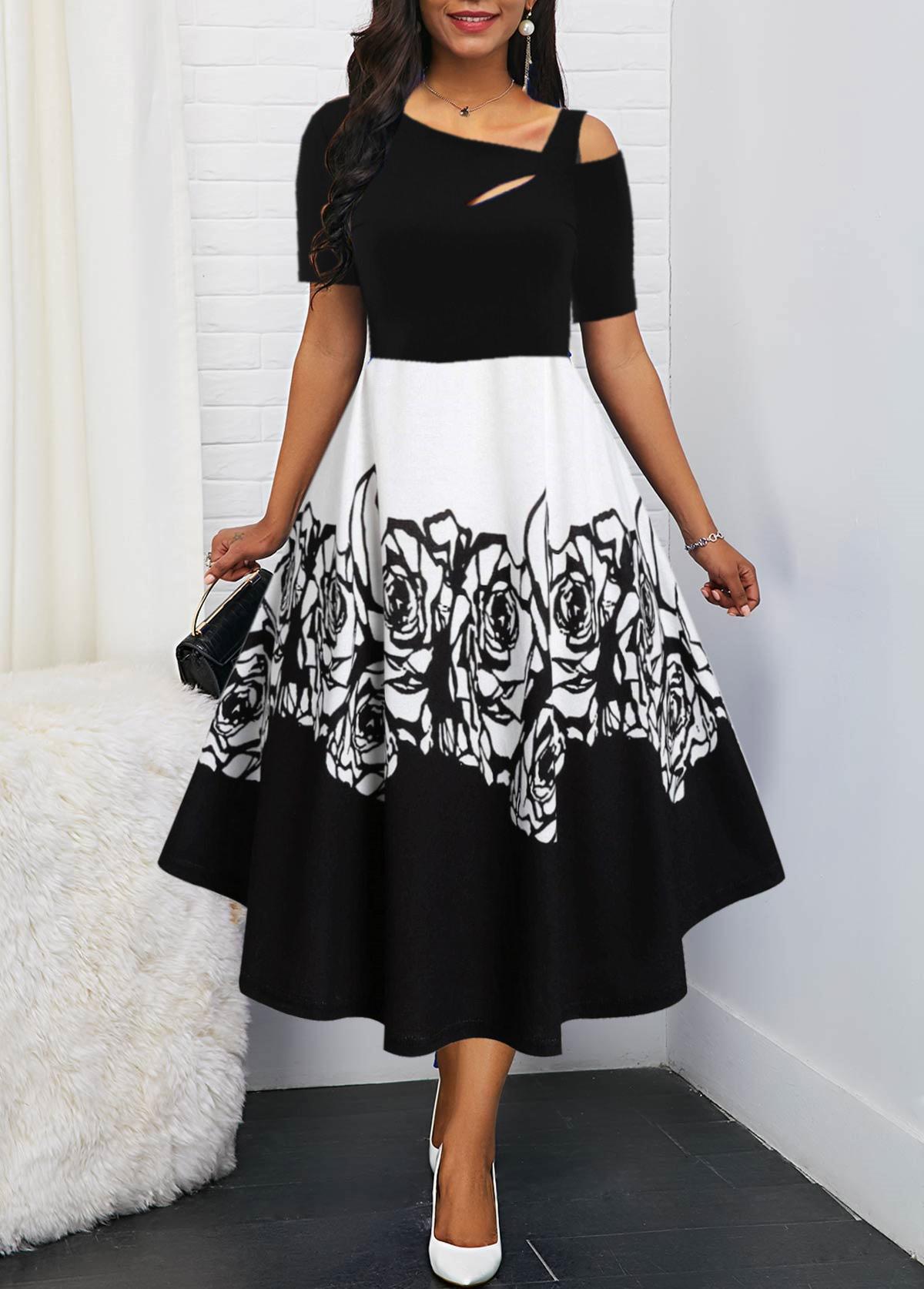 One Cold Shoulder Flower Print Dress