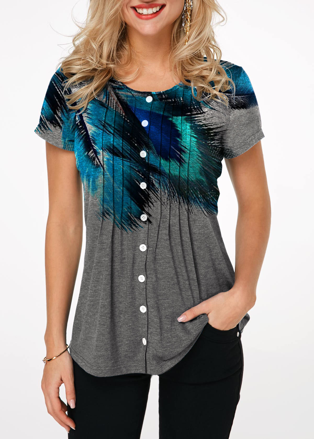 Button Up Printed Crinkle Chest T Shirt