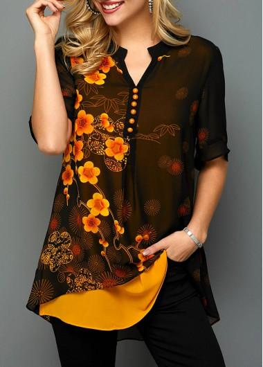 Orange Vintage Shirt Floral Print for Women Color Block Split Neck Button Detail Printed Blouse - L