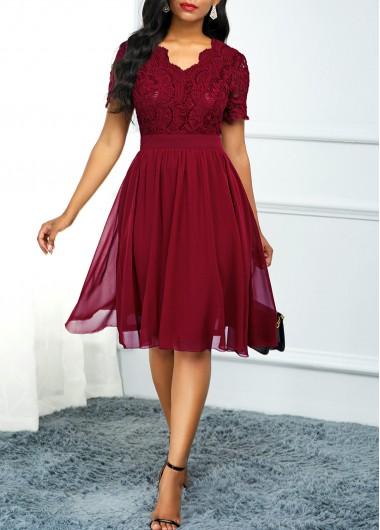 Lace Panel High Waist Short Sleeve Dress - L