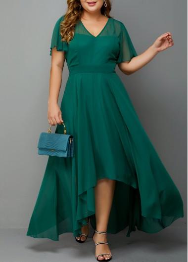 Plus Size Dress Side Zipper Dress High Waist Dress Chiffon Dress Short Sleeve Dress High Low Dress Green Dress - 0X