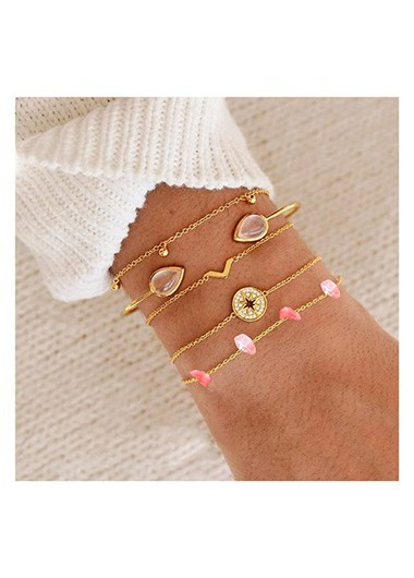 Rhinestone Detail Gold Metail Bracelet Set - One Size