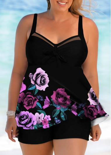 3ce170d48a5 43%offQuick ShopAdded Successfully. Rose Print Bowknot Front Plus Size  Swimdress and Shorts