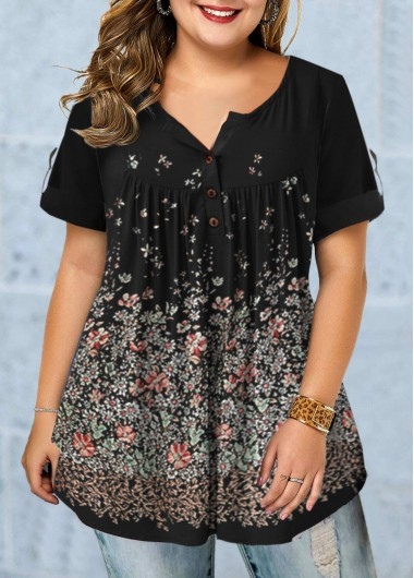 Plus Size Floral Print Roll Tab Sleeve Blouse - 0X