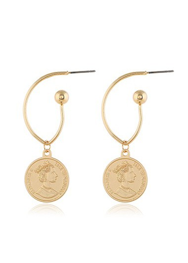 Gold Metal Character Design Earring Set - One Size