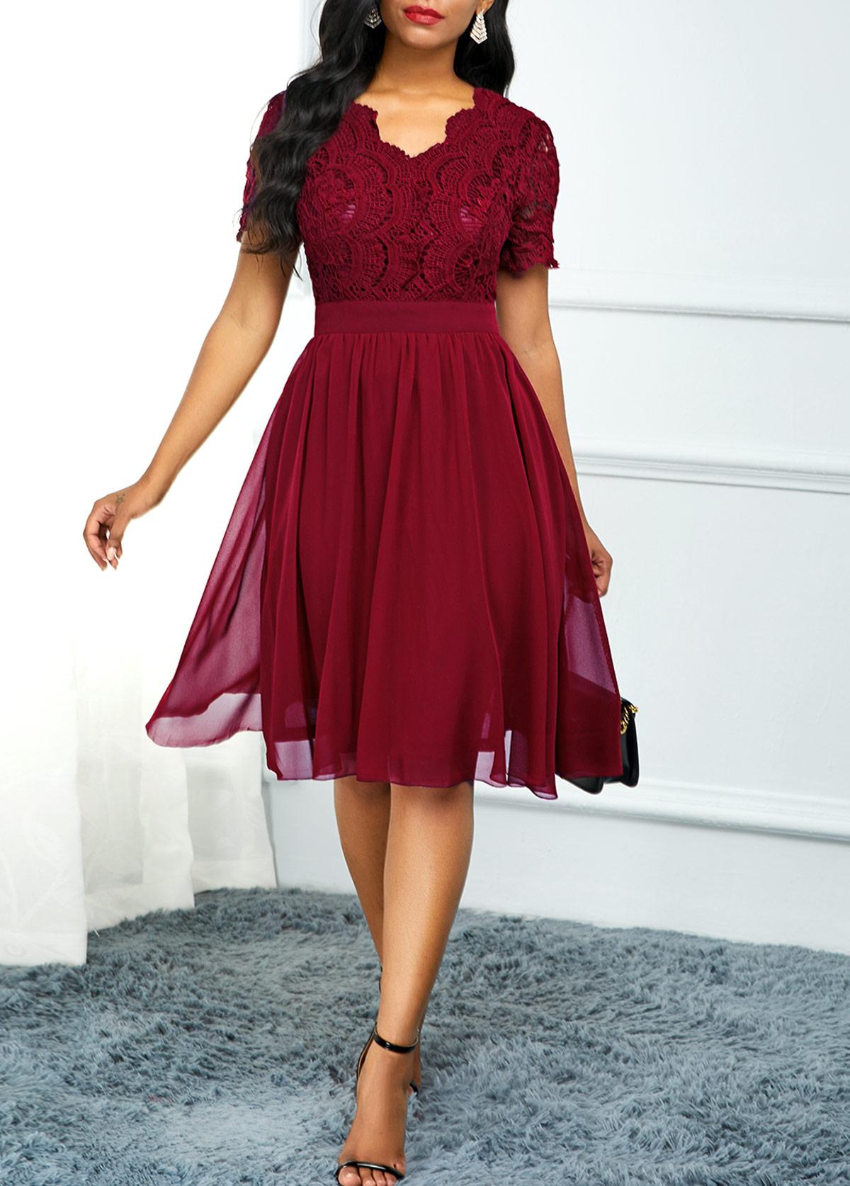 Lace Panel High Waist Short Sleeve Dress
