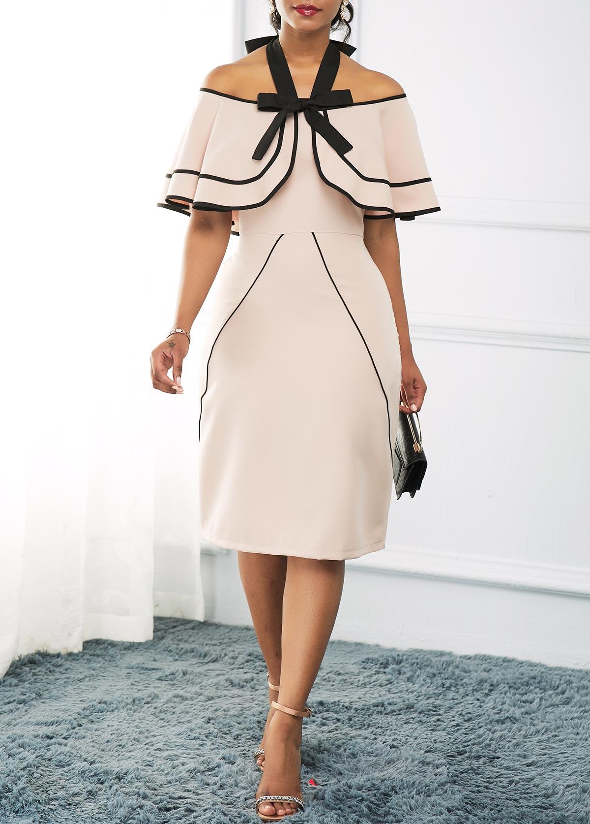 Off the Shoulder Overlay Embellished Dress