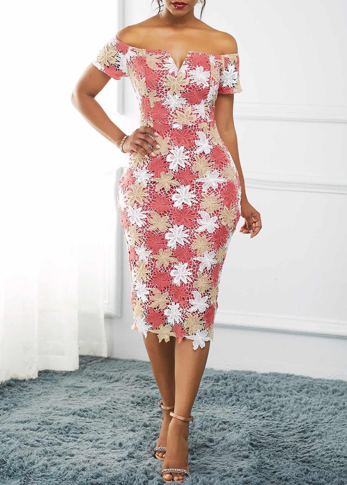 Off the Shoulder Split Neck Lace Dress