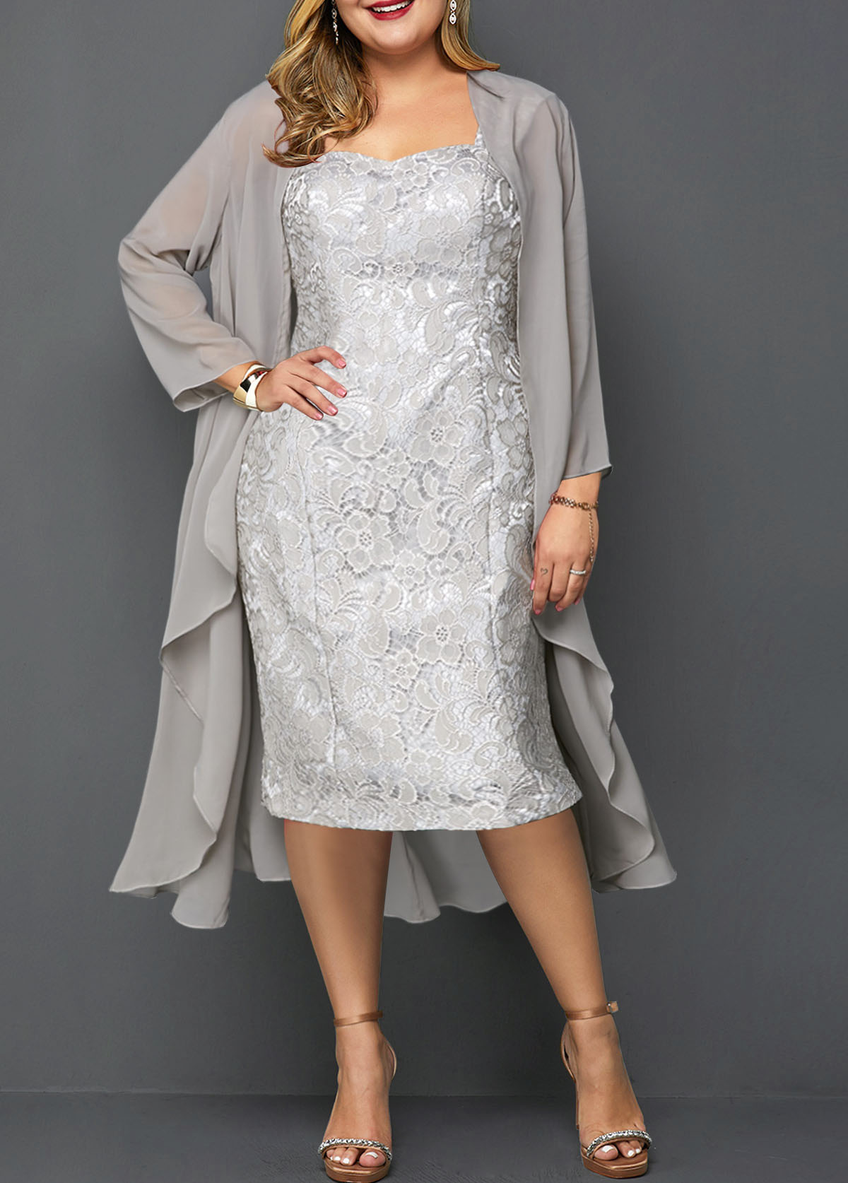 Plus Size Chiffon Cardigan and Lace Dress | modlily.com - USD $36.49