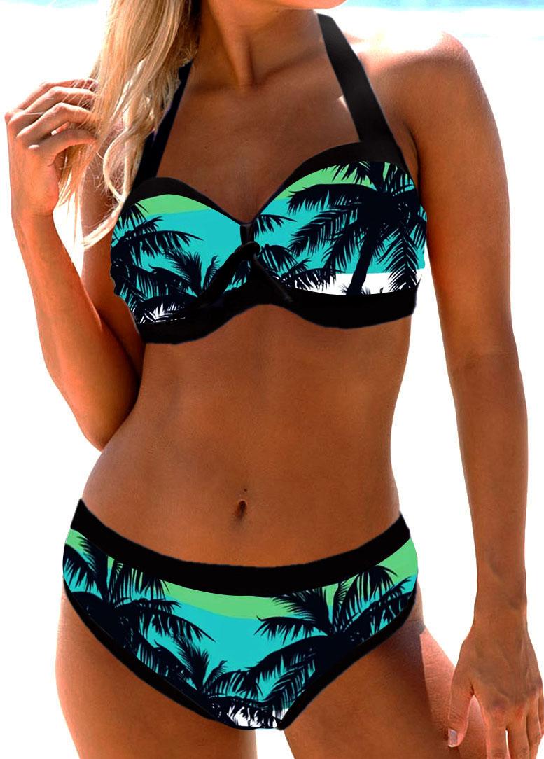 Cutout Back Tropical Print Bikini Bra and Panty
