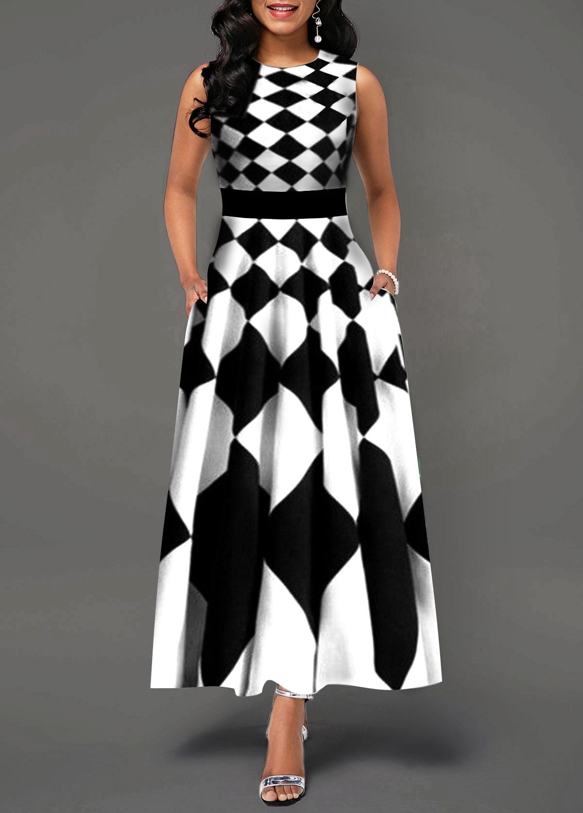 High Waist Sleeveless White Maxi Dress