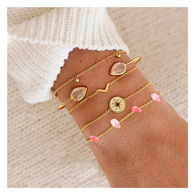Rhinestone Detail Gold Metail Bracelet Set