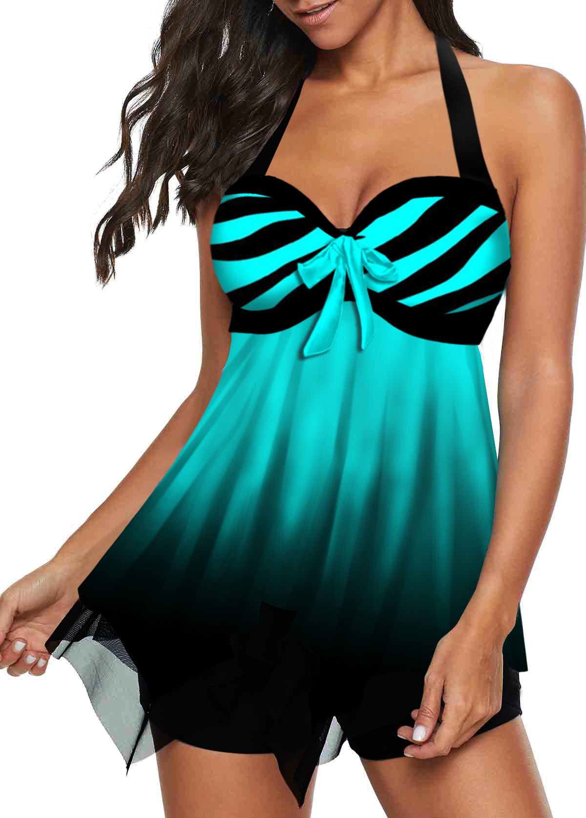 Halter Bowknot Detail Stripe Print Swimdress and Shorts