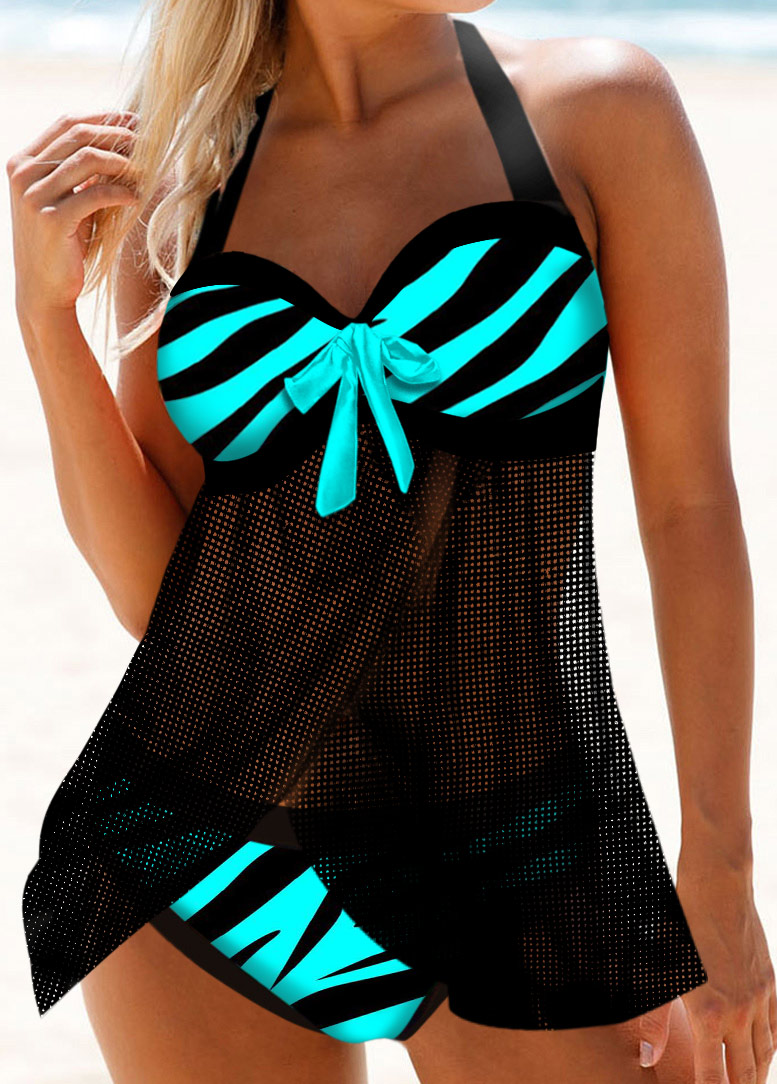 Zebra Print Halter Bowknot Detail Swimdress and Panty