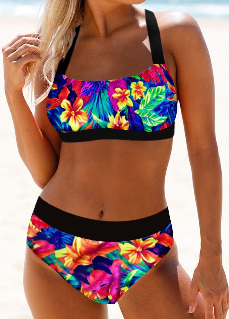 Tie Back Floral Print Spaghetti Strap Bikini Set