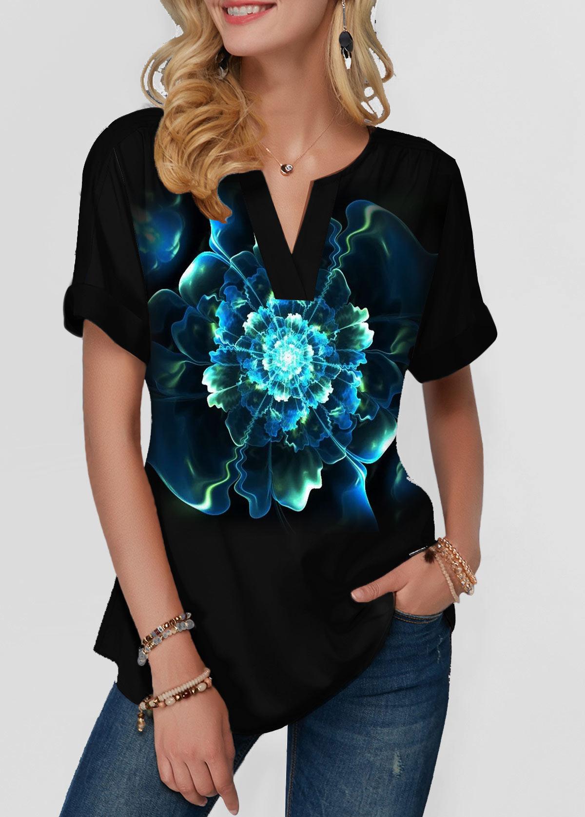 Notch Neck Dazzle Color Short Sleeve T Shirt