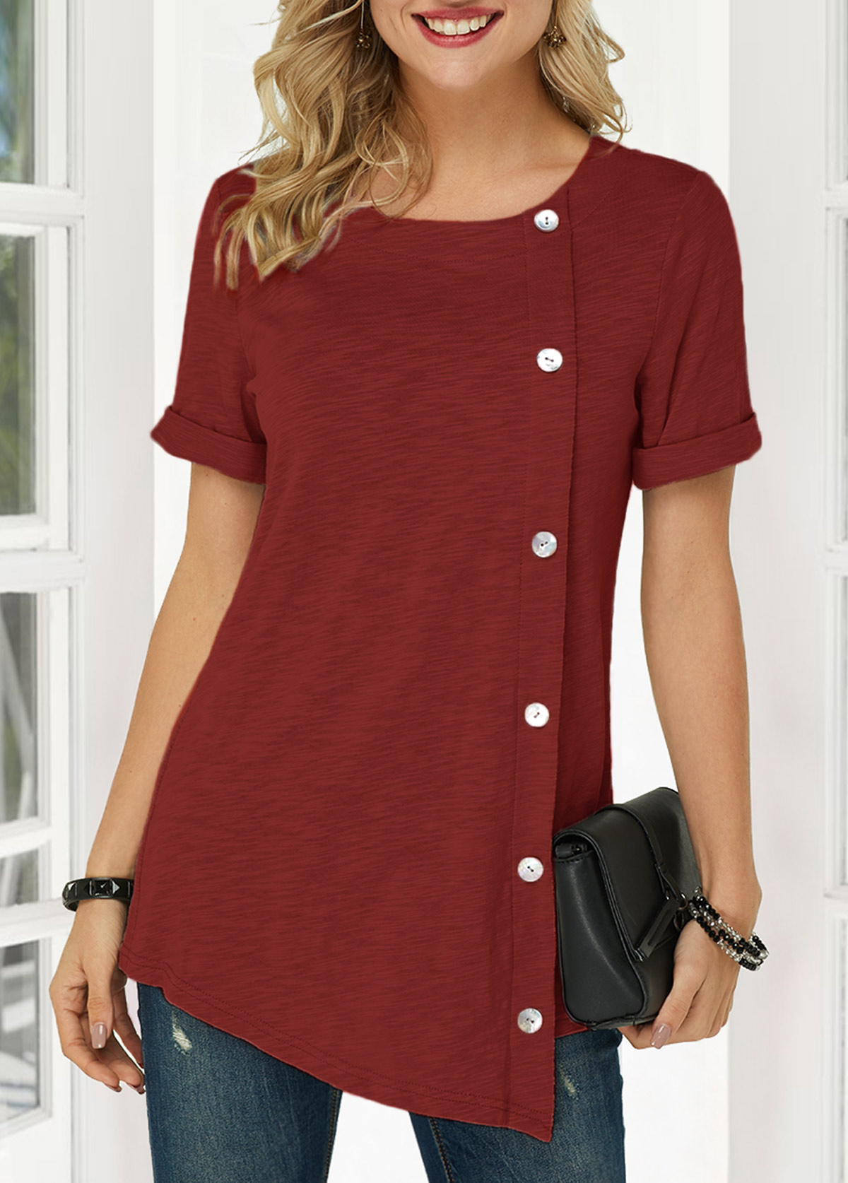 Button Detail Wine Red Asymmetric Hem T Shirt