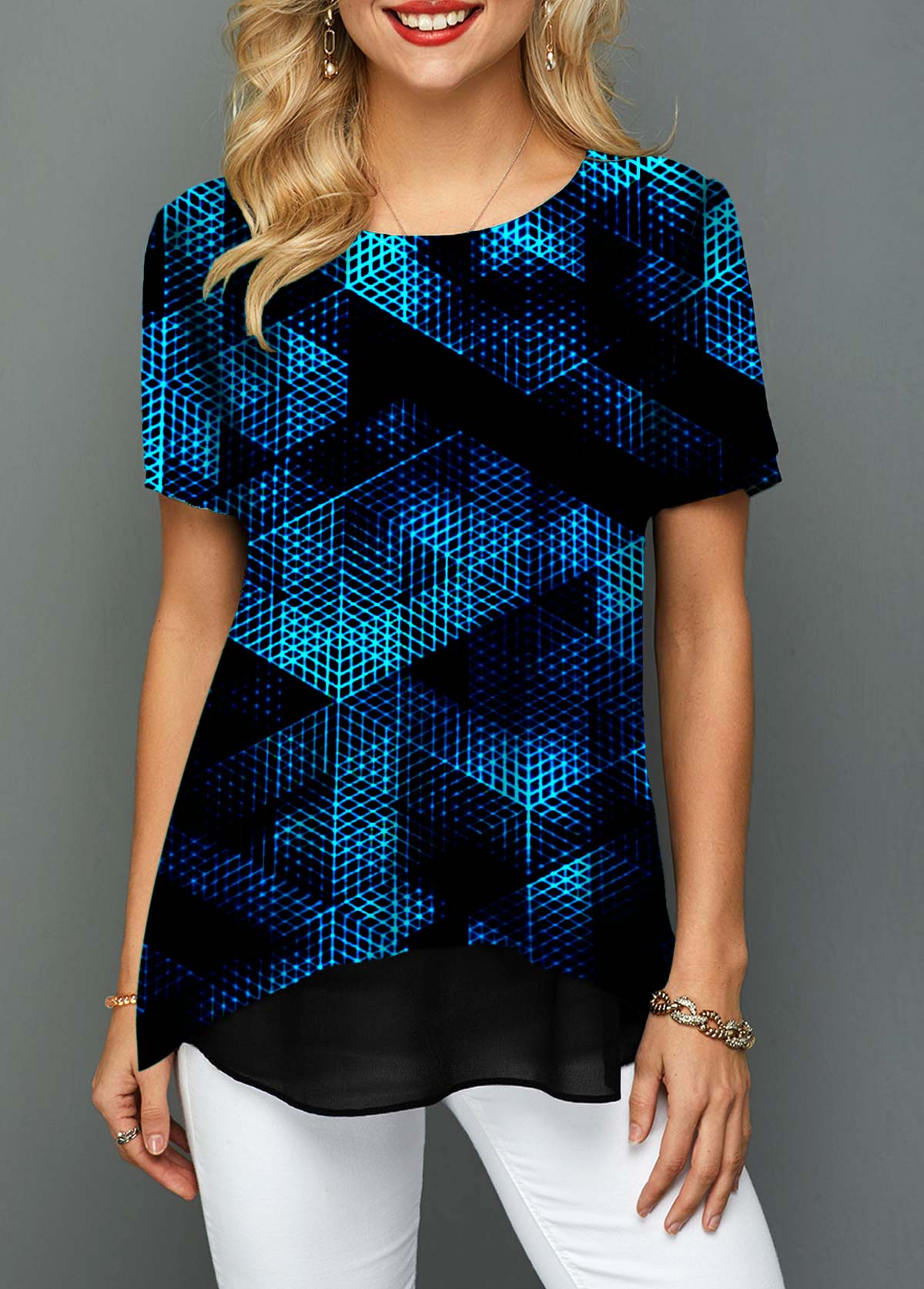 Psychedelic Print Round Neck Short Sleeve T Shirt