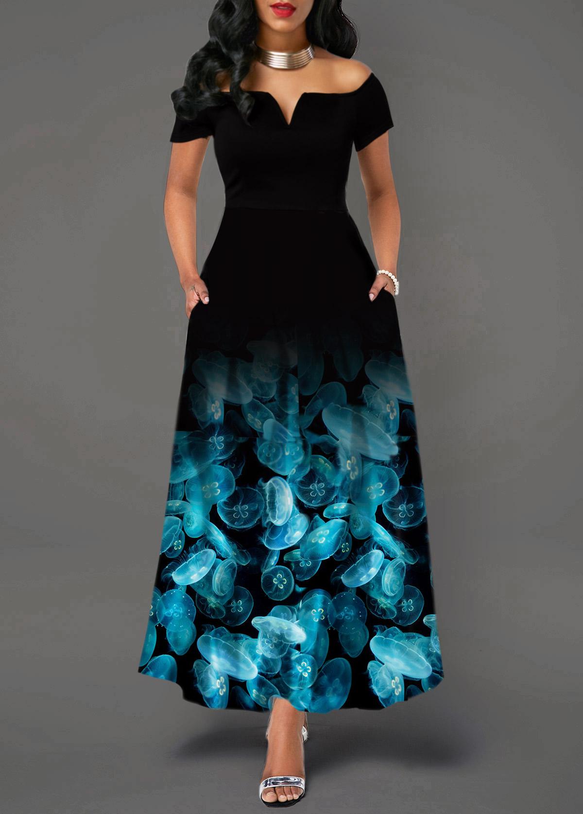 Off the Shoulder Printed High Waist Dress