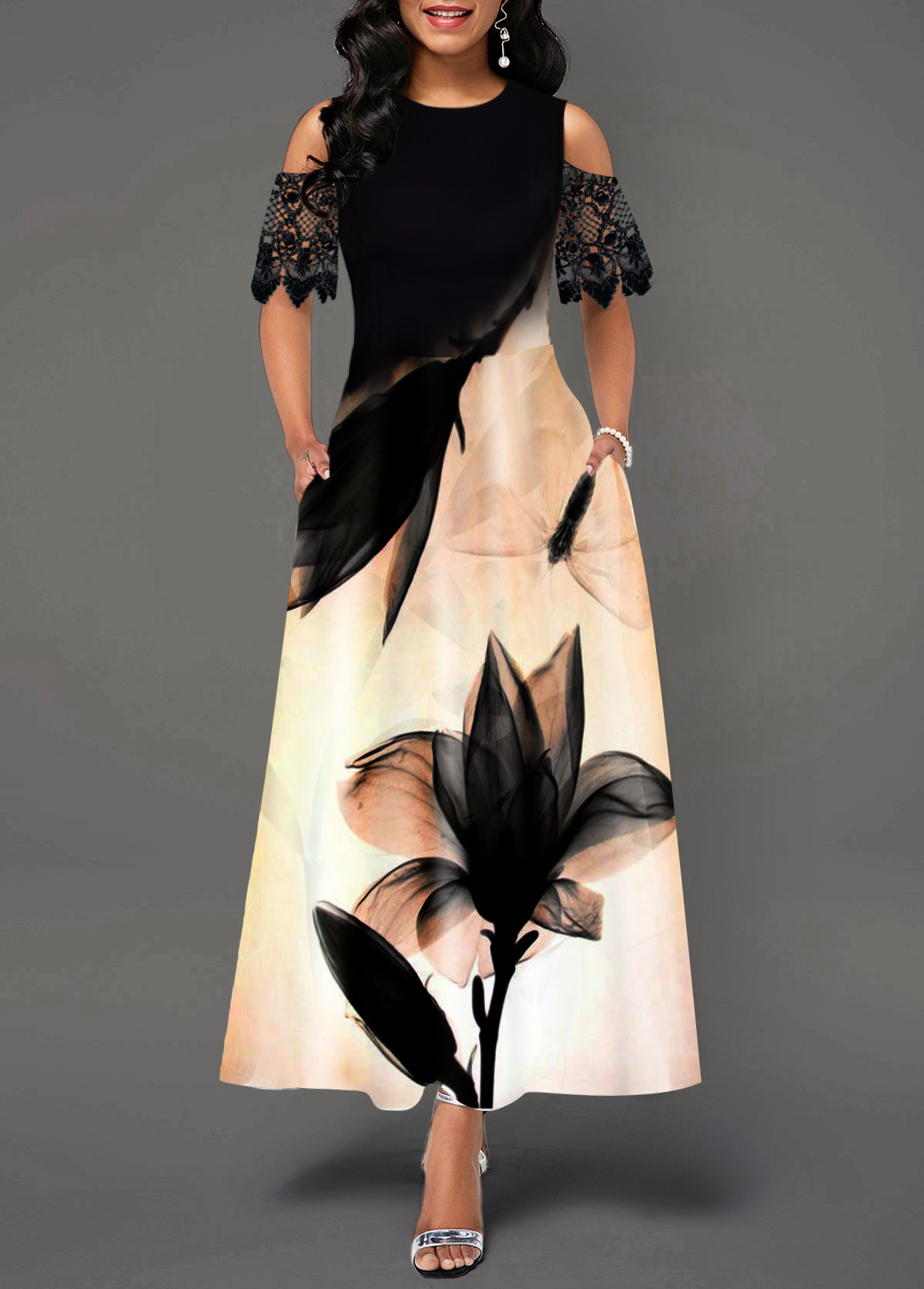 Lotus Print Lace Panel Cold Shoulder Maxi Dress